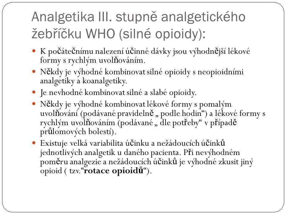 Analgetika III. stupně analgetického žebříčku WHO (silné opioidy):