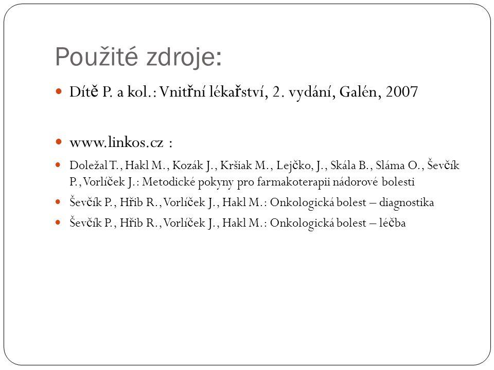 Použité zdroje: Dítě P. a kol.: Vnitřní lékařství, 2. vydání, Galén, 2007. www.linkos.cz :