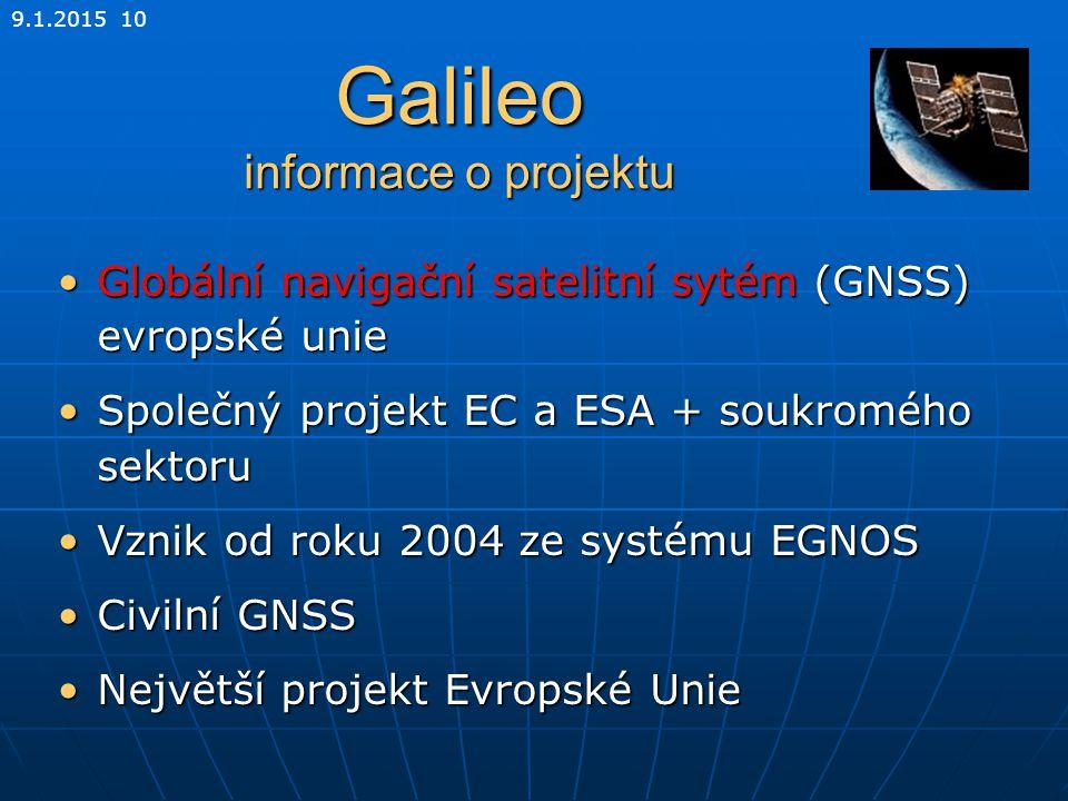 Galileo informace o projektu