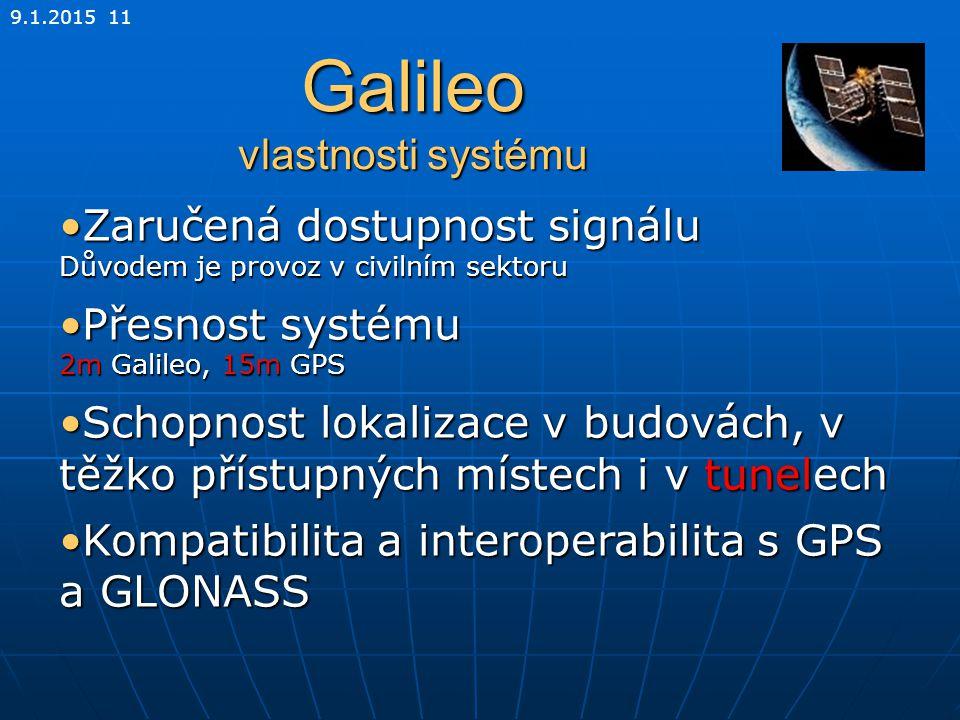 Galileo vlastnosti systému