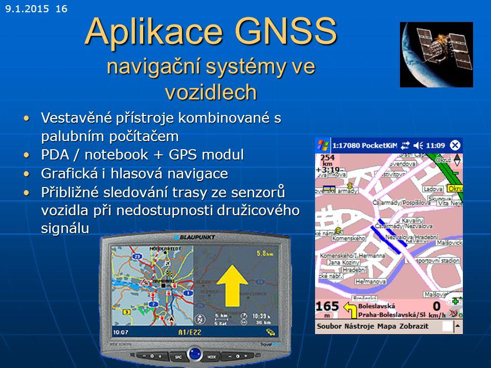 Aplikace GNSS navigační systémy ve vozidlech