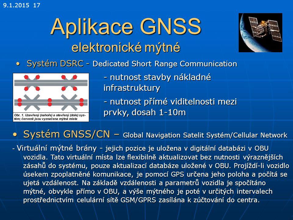 Aplikace GNSS elektronické mýtné