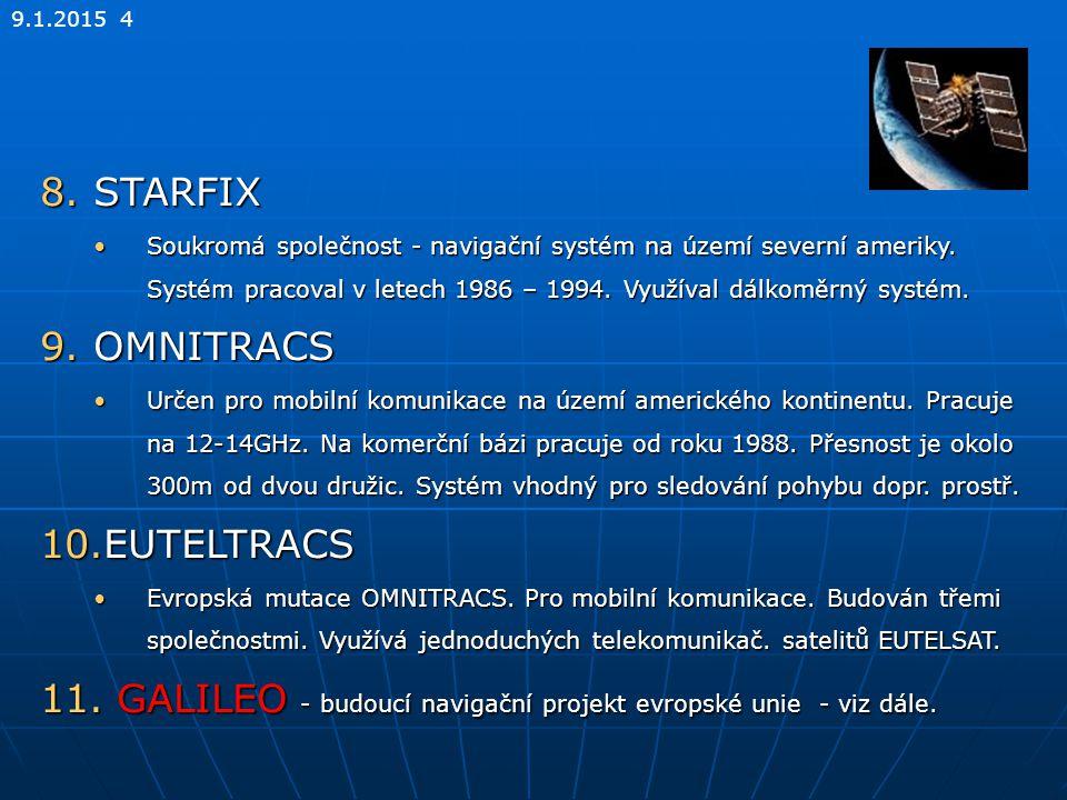 GALILEO - budoucí navigační projekt evropské unie - viz dále.