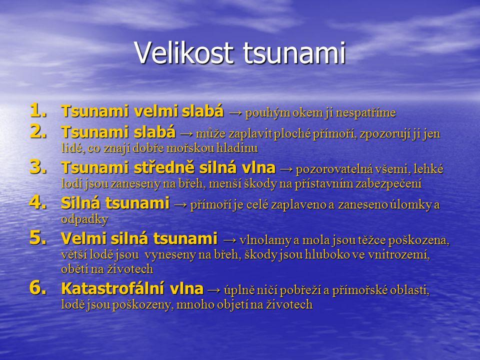 Velikost tsunami Tsunami velmi slabá → pouhým okem ji nespatříme