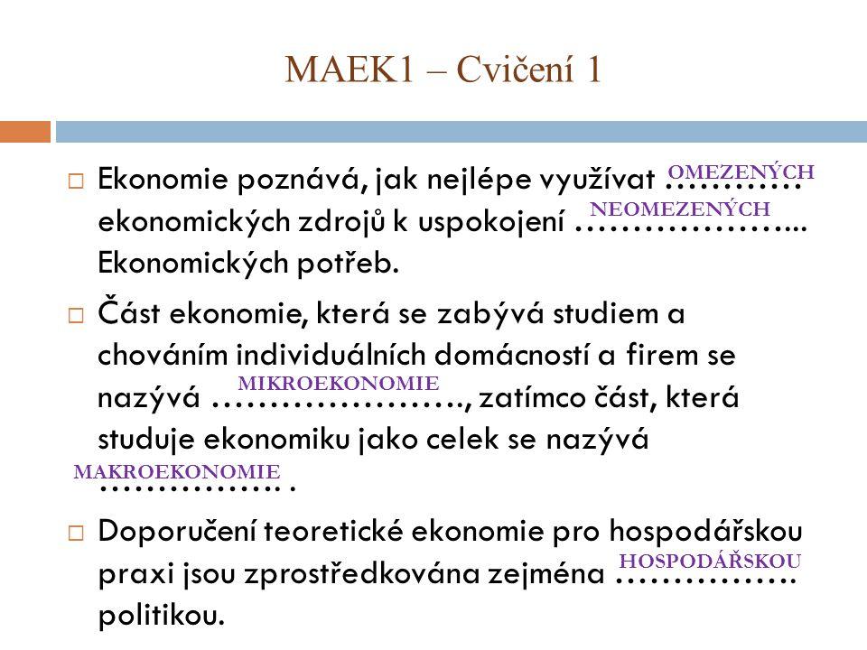 MAEK1 – Cvičení 1 Ekonomie poznává, jak nejlépe využívat ………… ekonomických zdrojů k uspokojení ………………... Ekonomických potřeb.