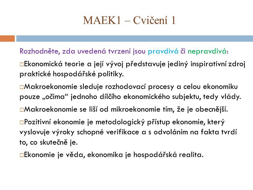 MAEK1 – Cvičení 1 Rozhodněte, zda uvedená tvrzení jsou pravdivá či nepravdivá: