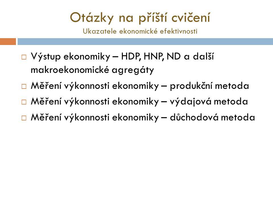 Otázky na příští cvičení Ukazatele ekonomické efektivnosti