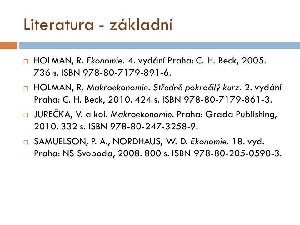 Literatura - základní HOLMAN, R. Ekonomie. 4. vydání Praha: C. H. Beck, 2005. 736 s. ISBN 978-80-7179-891-6.
