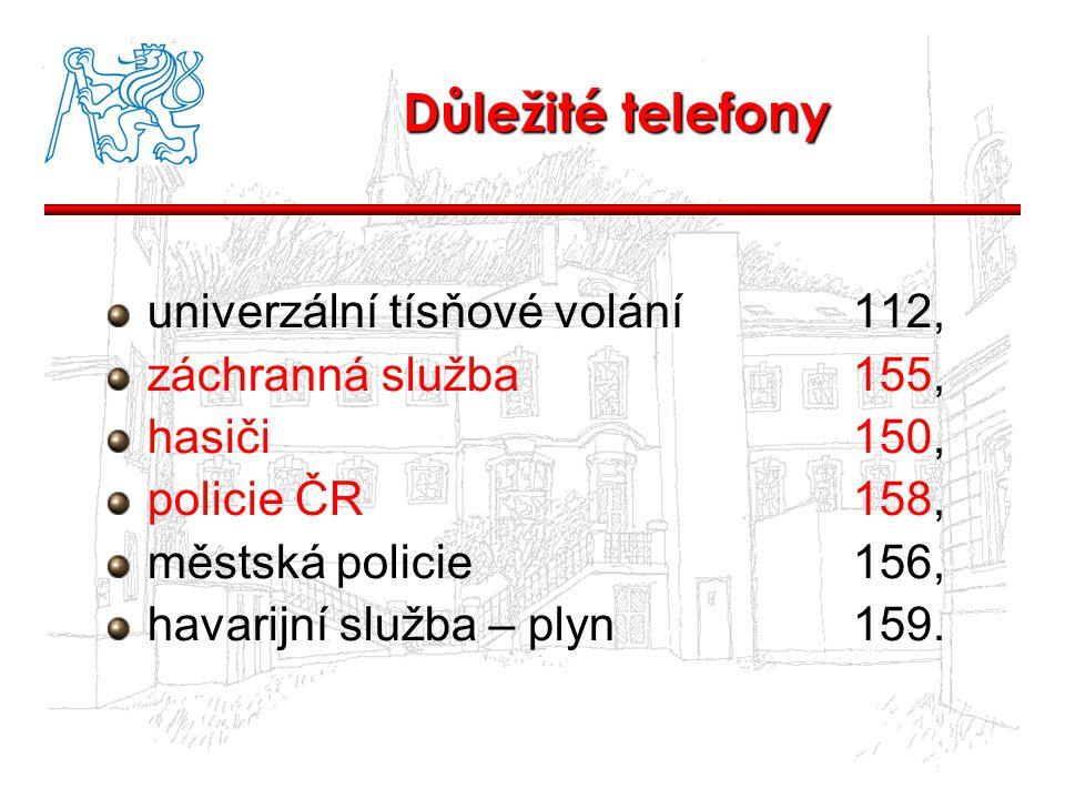 Důležité telefony univerzální tísňové volání 112,