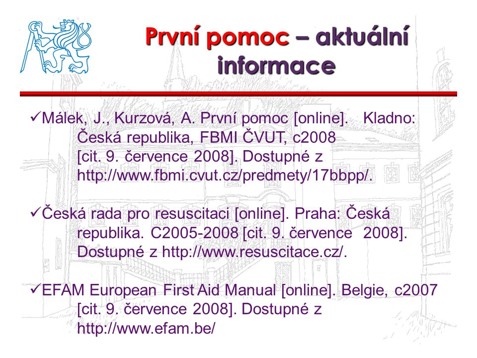 První pomoc – aktuální informace