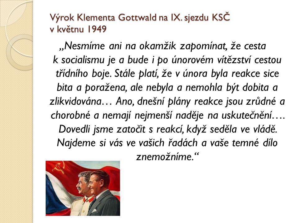 Výrok Klementa Gottwald na IX. sjezdu KSČ v květnu 1949