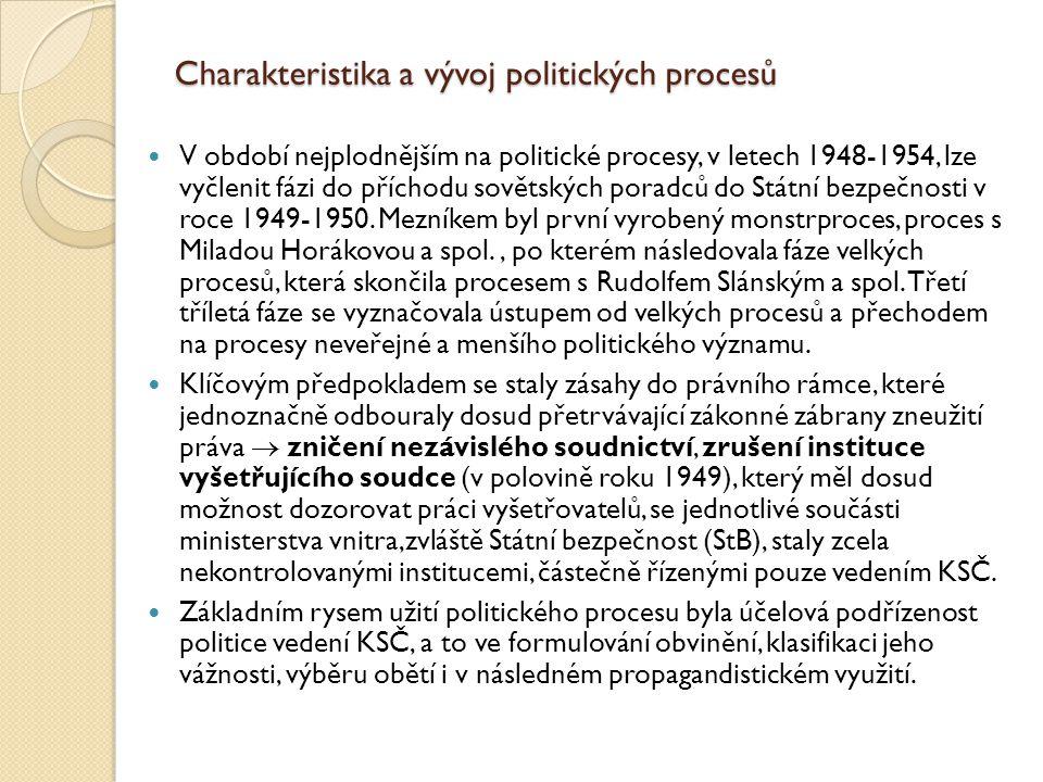 Charakteristika a vývoj politických procesů