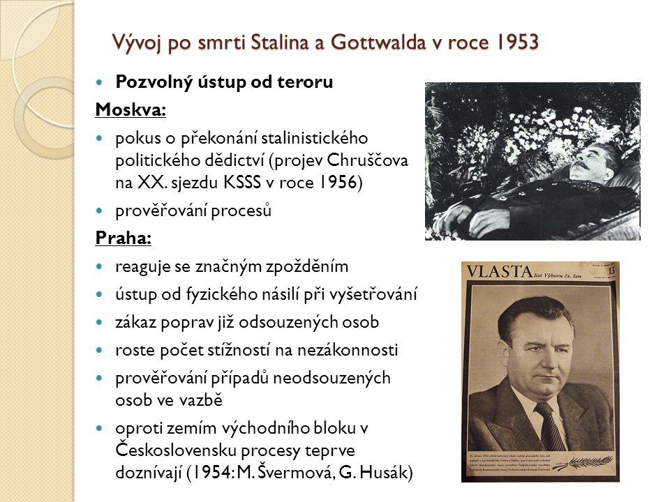 Vývoj po smrti Stalina a Gottwalda v roce 1953