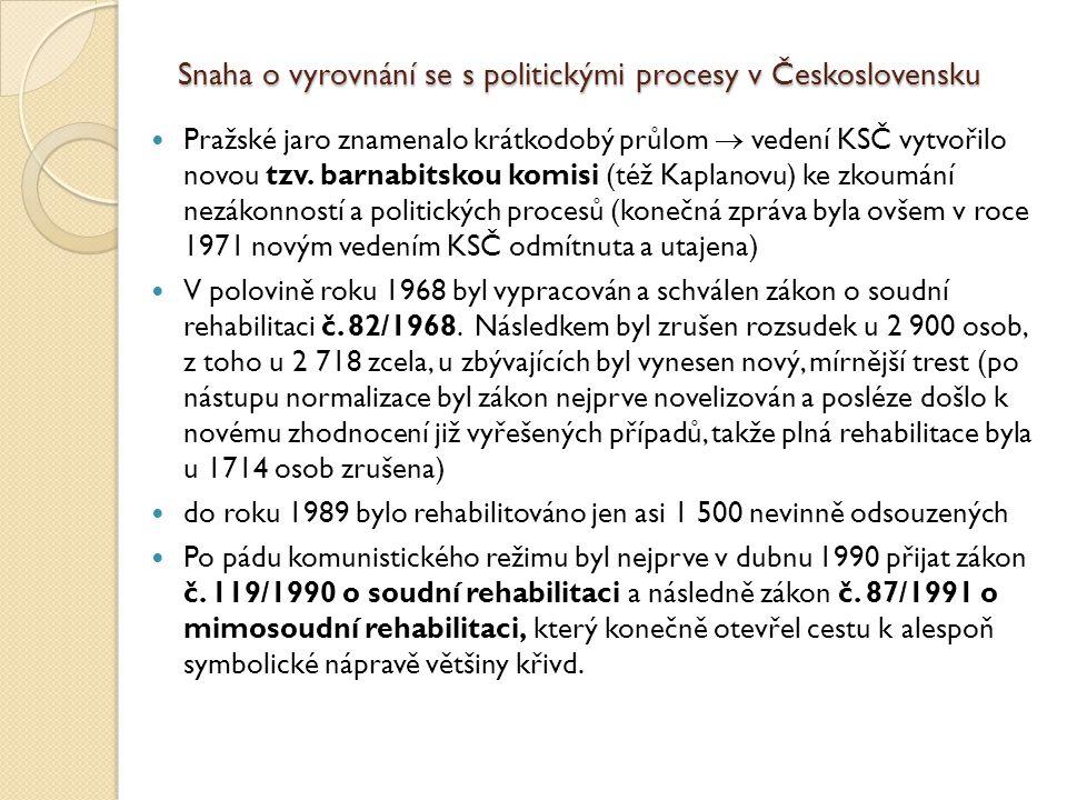 Snaha o vyrovnání se s politickými procesy v Československu