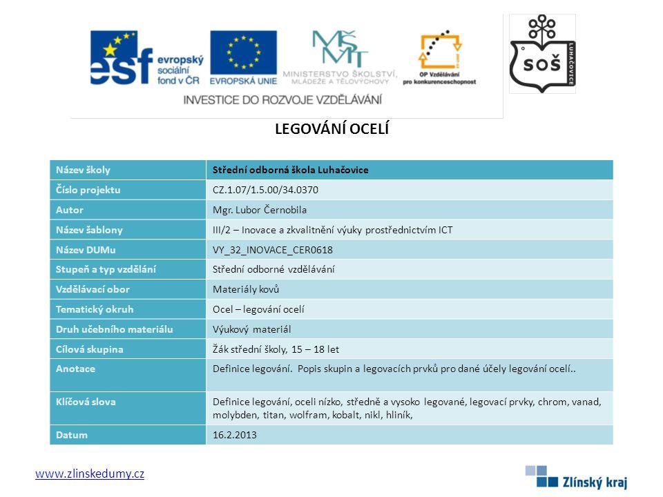 LEGOVÁNÍ OCELÍ www.zlinskedumy.cz Název školy