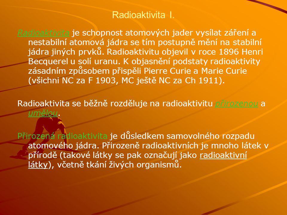 Radioaktivita I.