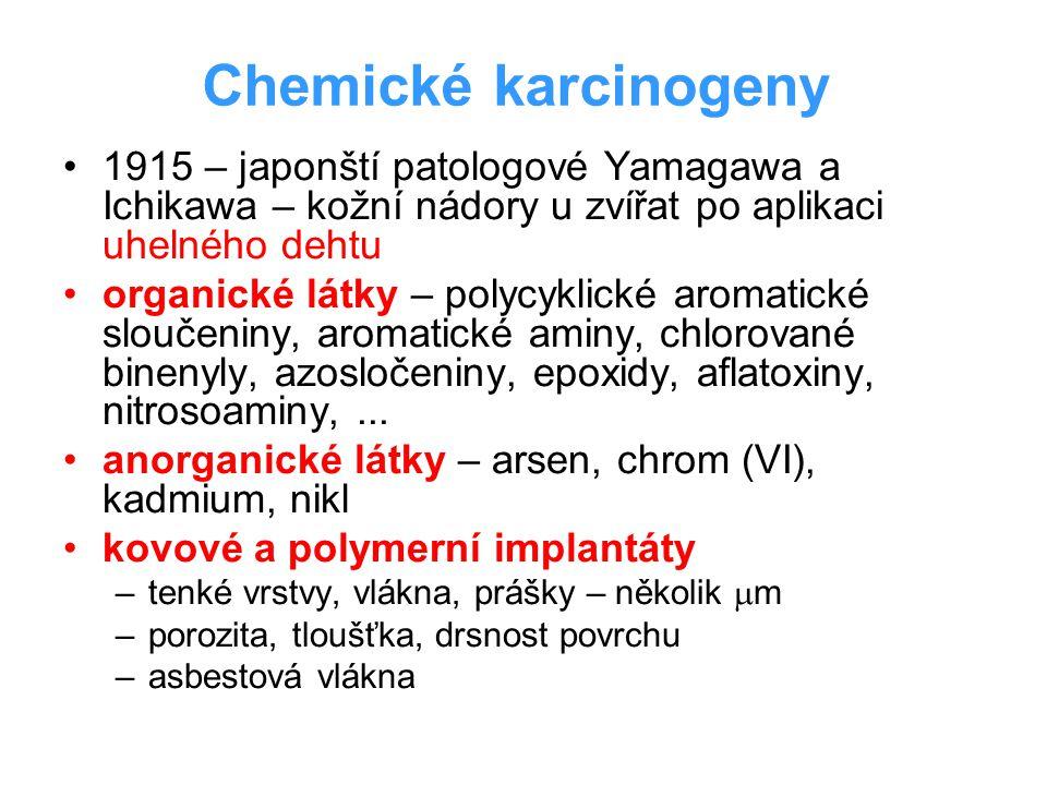 Chemické karcinogeny 1915 – japonští patologové Yamagawa a Ichikawa – kožní nádory u zvířat po aplikaci uhelného dehtu.