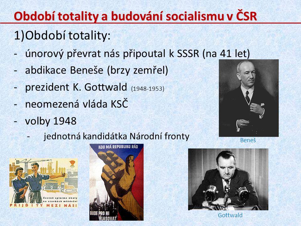 Období totality a budování socialismu v ČSR Období totality: