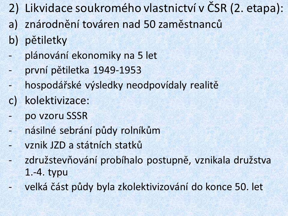 Likvidace soukromého vlastnictví v ČSR (2. etapa):