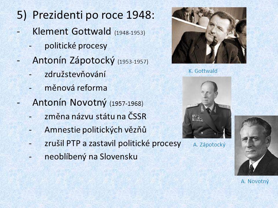 Prezidenti po roce 1948: Klement Gottwald (1948-1953)