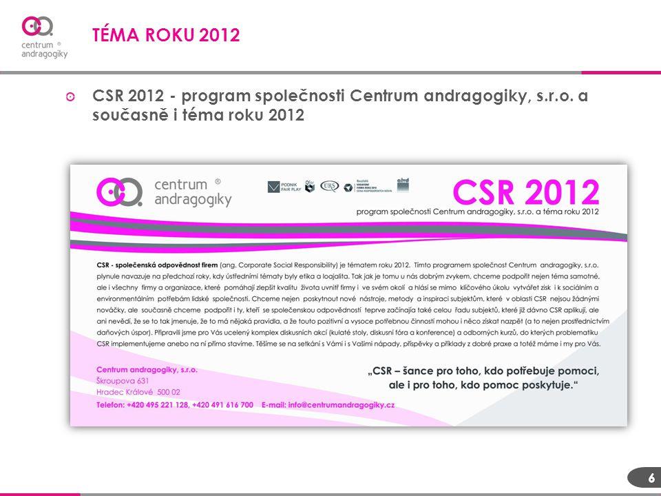 TÉMA ROKU 2012 CSR 2012 - program společnosti Centrum andragogiky, s.r.o. a současně i téma roku 2012.