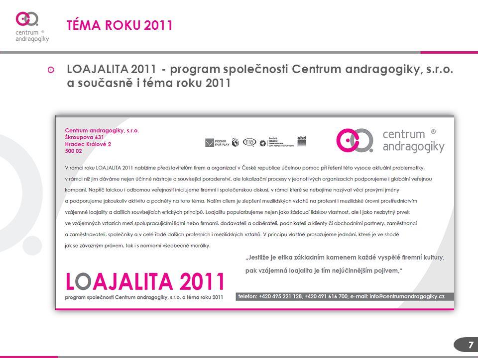 TÉMA ROKU 2011 LOAJALITA 2011 - program společnosti Centrum andragogiky, s.r.o. a současně i téma roku 2011.