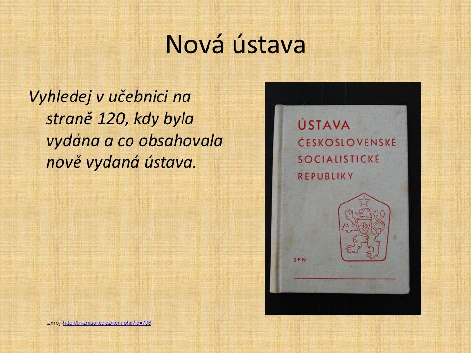 Nová ústava Vyhledej v učebnici na straně 120, kdy byla vydána a co obsahovala nově vydaná ústava.