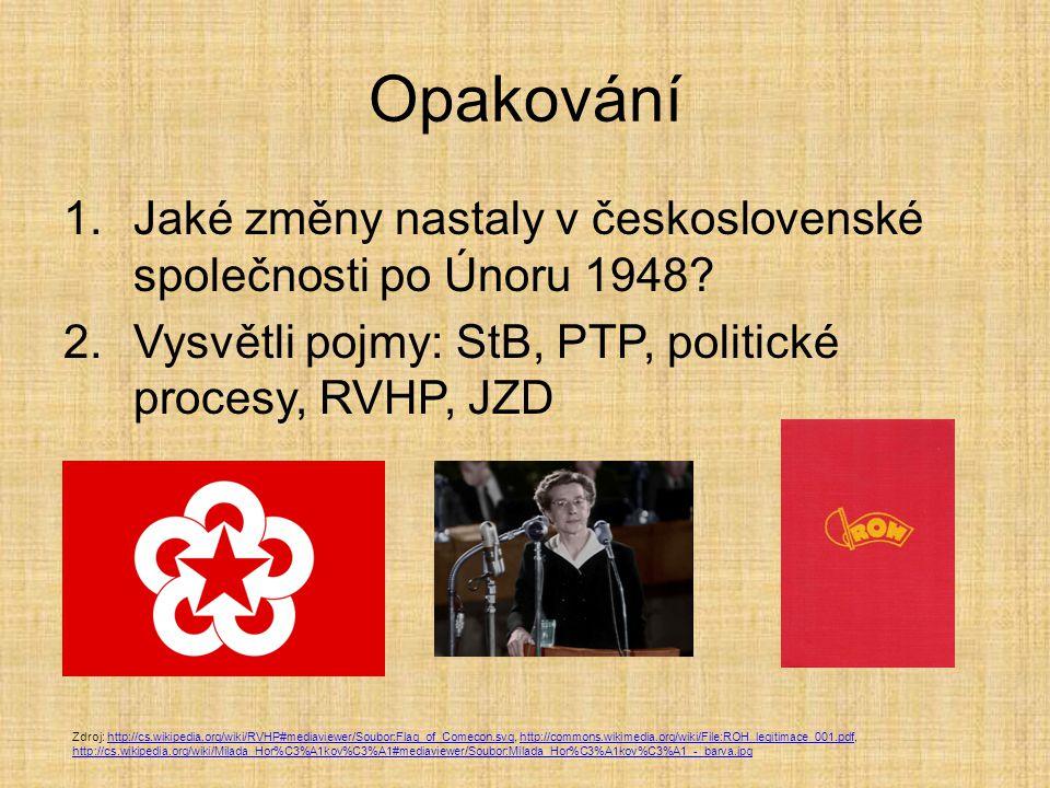 Opakování Jaké změny nastaly v československé společnosti po Únoru 1948 Vysvětli pojmy: StB, PTP, politické procesy, RVHP, JZD.