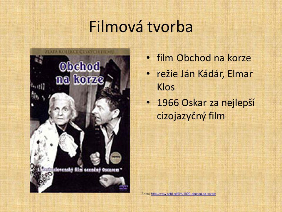 Filmová tvorba film Obchod na korze režie Ján Kádár, Elmar Klos