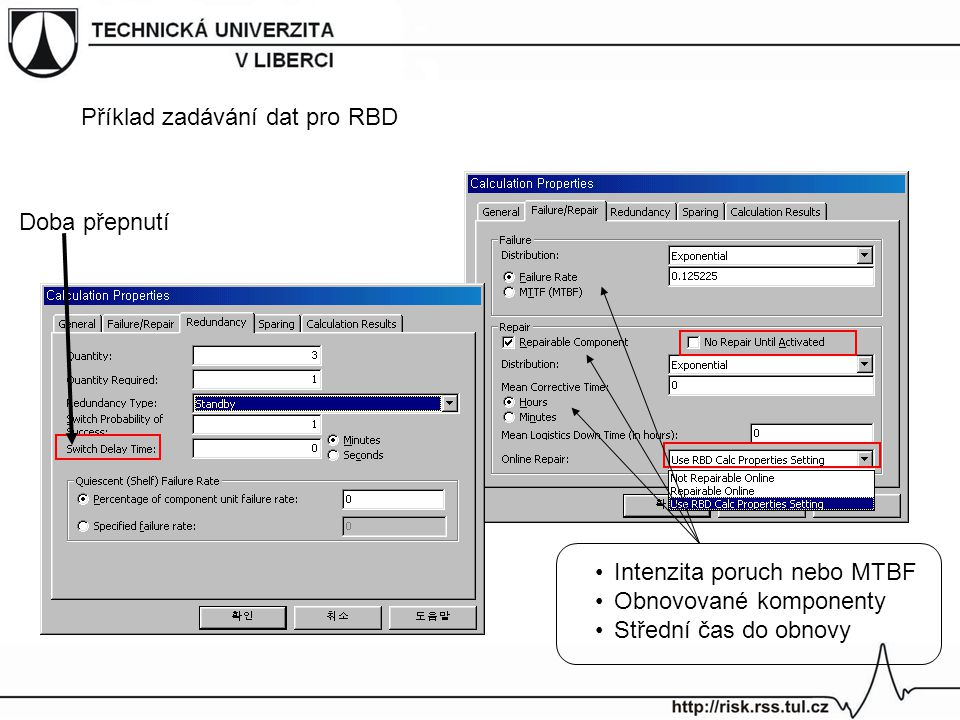 Příklad zadávání dat pro RBD