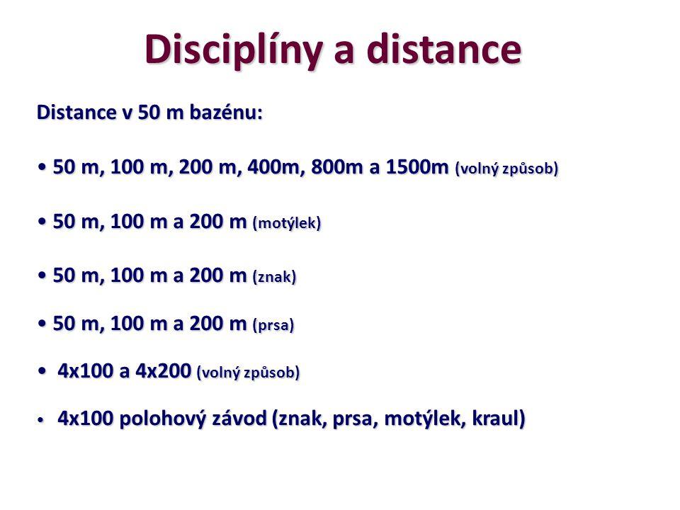 Disciplíny a distance Distance v 50 m bazénu: