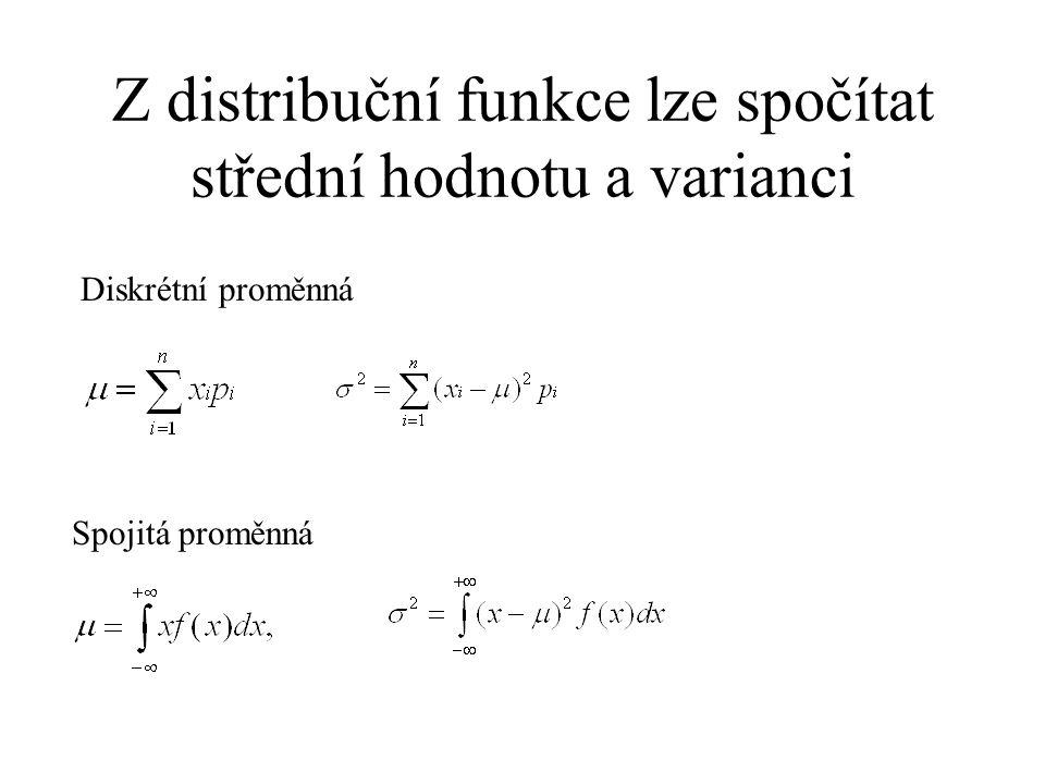 Z distribuční funkce lze spočítat střední hodnotu a varianci