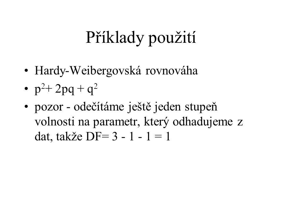 Příklady použití Hardy-Weibergovská rovnováha p2+ 2pq + q2