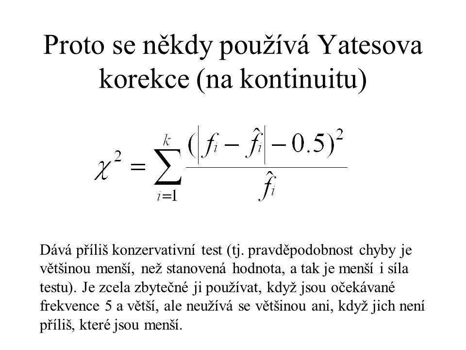 Proto se někdy používá Yatesova korekce (na kontinuitu)