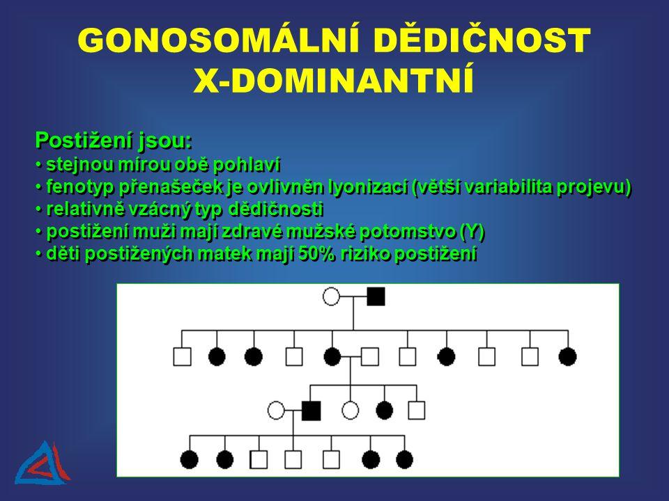 GONOSOMÁLNÍ DĚDIČNOST X-DOMINANTNÍ