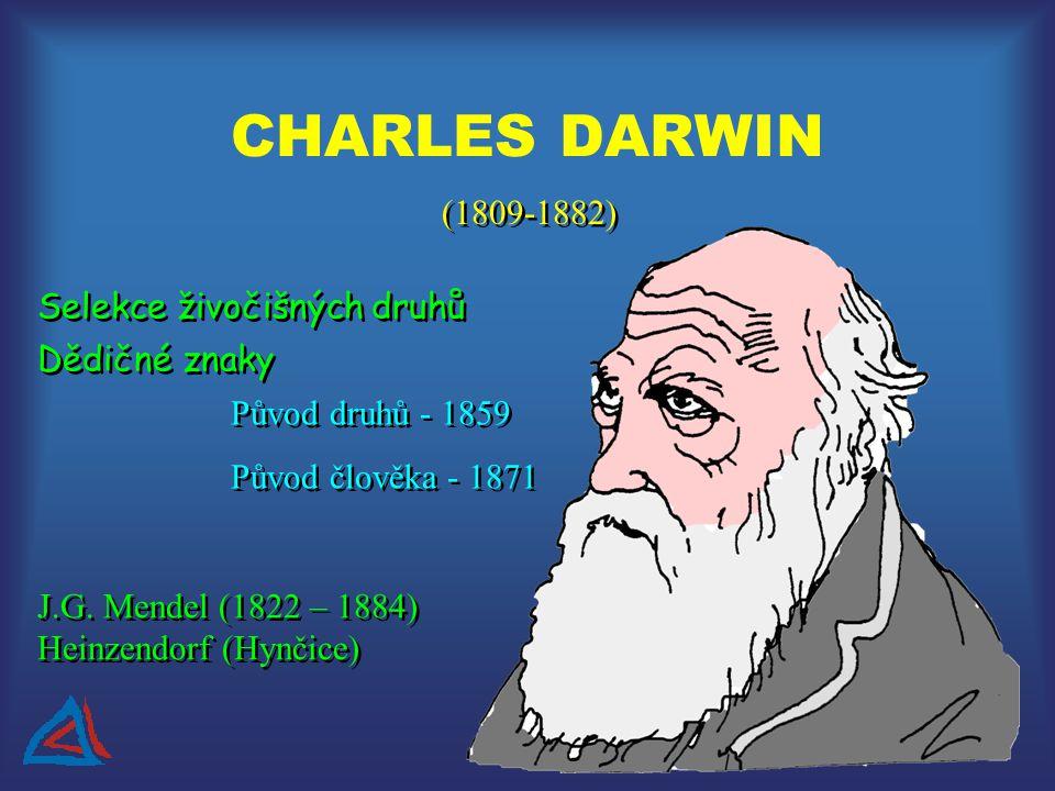 CHARLES DARWIN (1809-1882) Selekce živočišných druhů Dědičné znaky