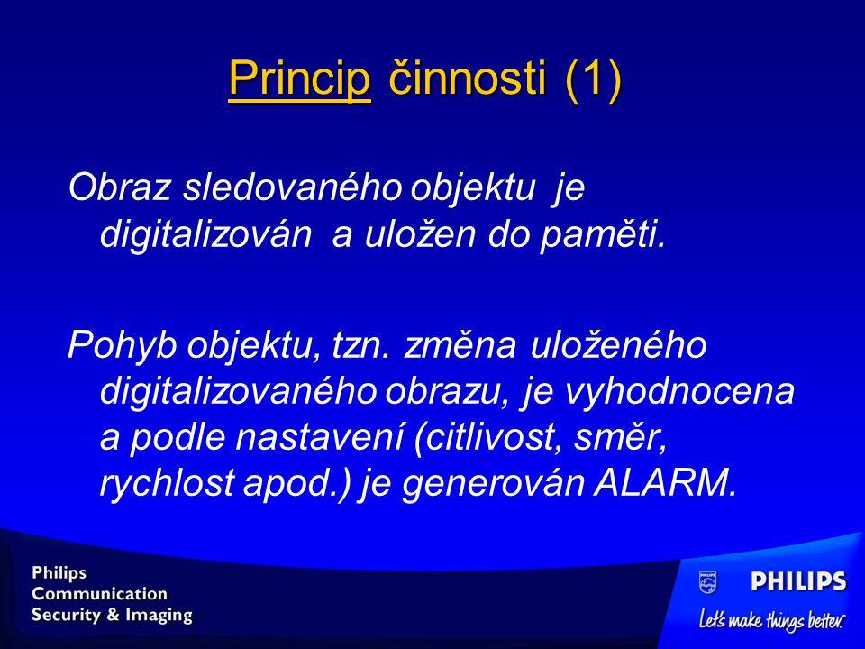 Princip činnosti (1) Obraz sledovaného objektu je digitalizován a uložen do paměti.