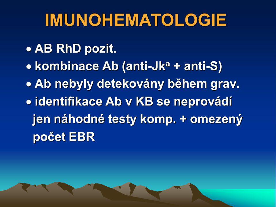IMUNOHEMATOLOGIE  AB RhD pozit.  kombinace Ab (anti-Jka + anti-S)
