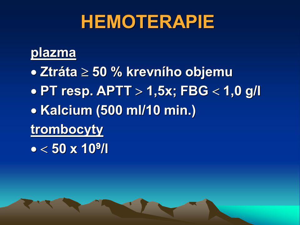 HEMOTERAPIE plazma  Ztráta  50 % krevního objemu