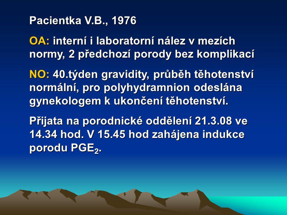 Pacientka V.B., 1976 OA: interní i laboratorní nález v mezích normy, 2 předchozí porody bez komplikací.
