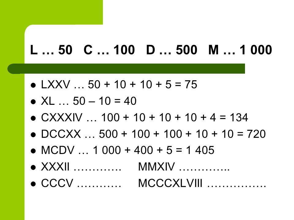 L … 50 C … 100 D … 500 M … 1 000 LXXV … 50 + 10 + 10 + 5 = 75. XL … 50 – 10 = 40. CXXXIV … 100 + 10 + 10 + 10 + 4 = 134.