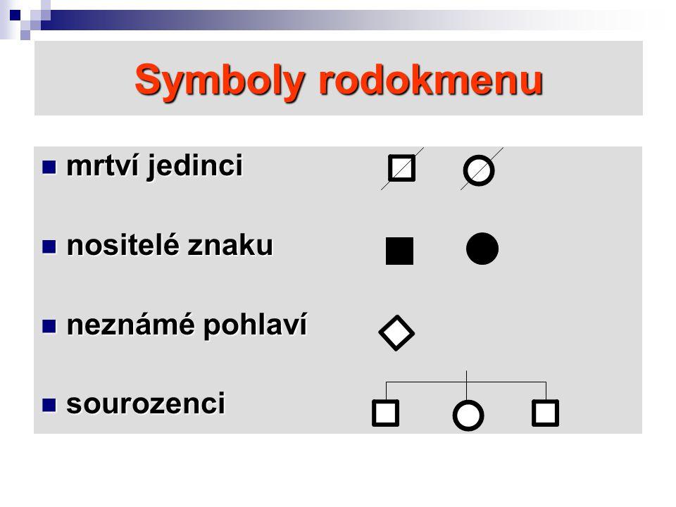 Symboly rodokmenu mrtví jedinci nositelé znaku neznámé pohlaví