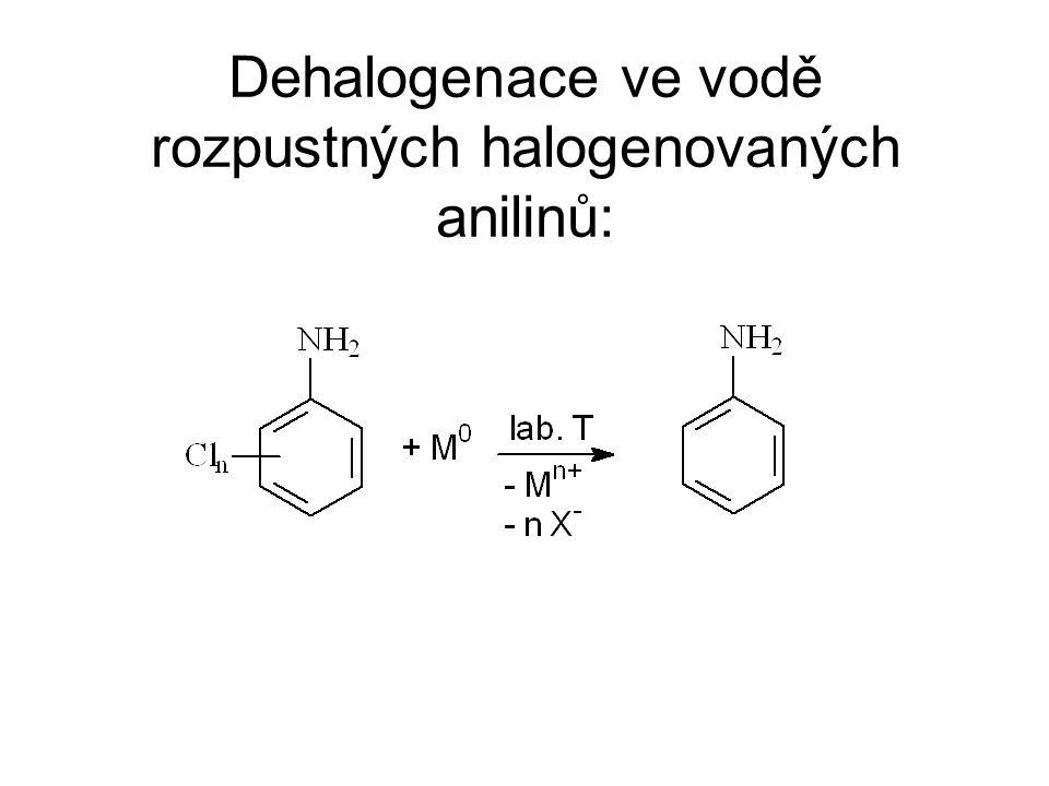 Dehalogenace ve vodě rozpustných halogenovaných anilinů: