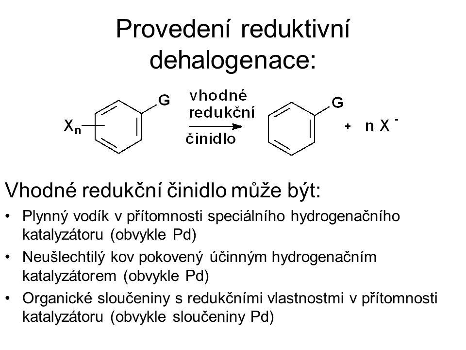 Provedení reduktivní dehalogenace: