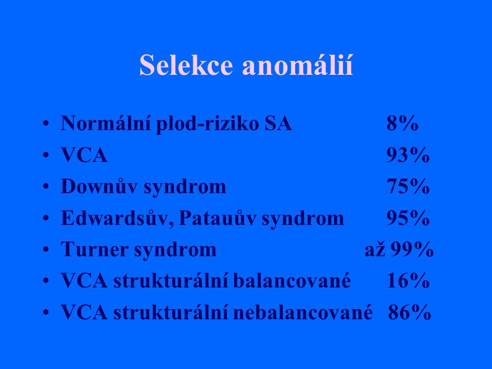 Selekce anomálií Normální plod-riziko SA 8% VCA 93% Downův syndrom 75%