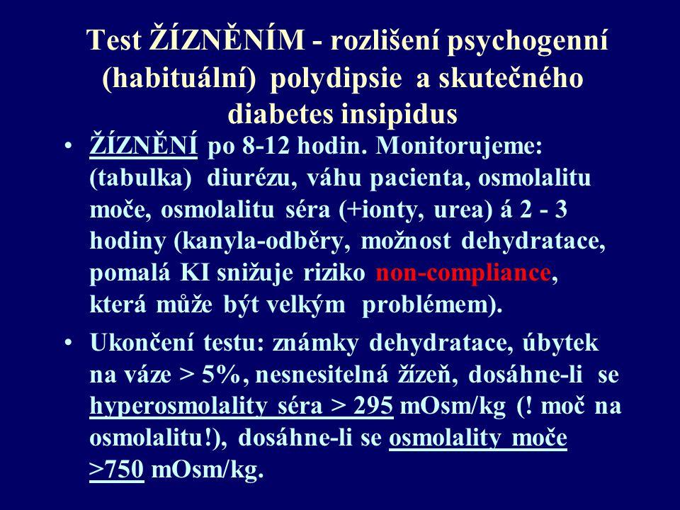 Test ŽÍZNĚNÍM - rozlišení psychogenní (habituální) polydipsie a skutečného diabetes insipidus