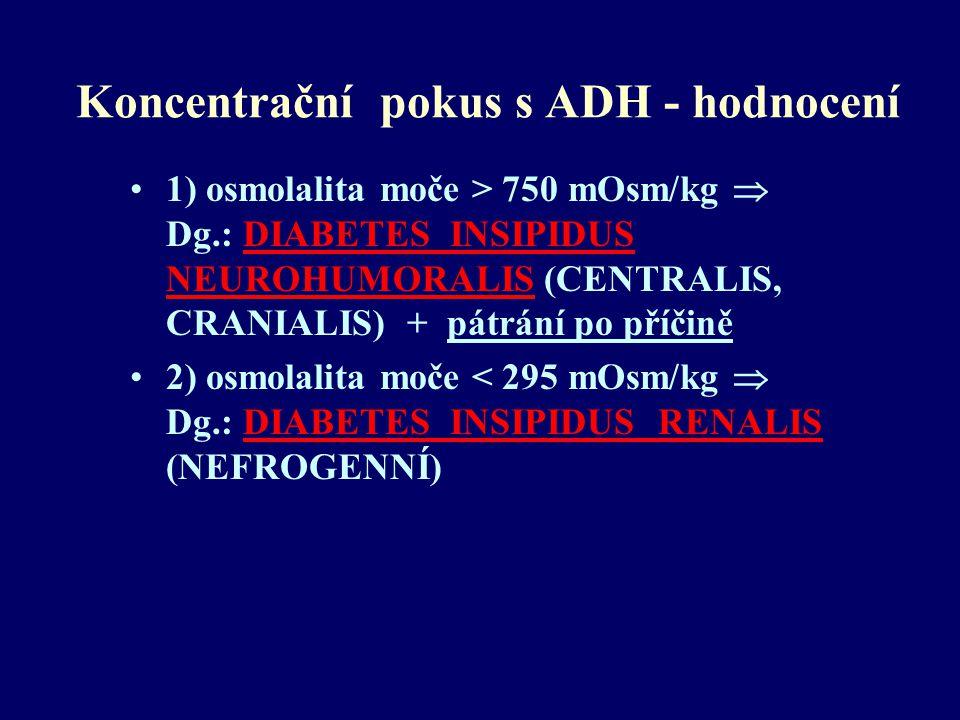 Koncentrační pokus s ADH - hodnocení