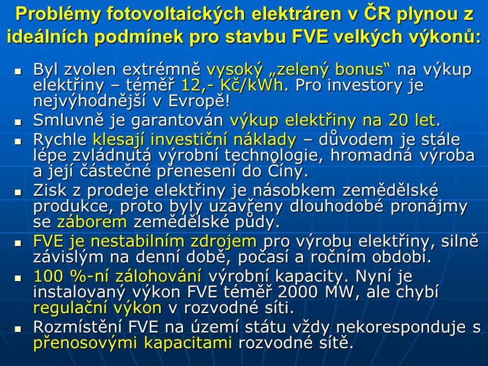 Problémy fotovoltaických elektráren v ČR plynou z ideálních podmínek pro stavbu FVE velkých výkonů:
