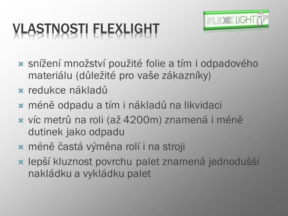Vlastnosti FlexLight snížení množství použité folie a tím i odpadového materiálu (důležité pro vaše zákazníky)