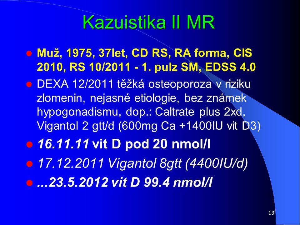 Kazuistika II MR 16.11.11 vit D pod 20 nmol/l